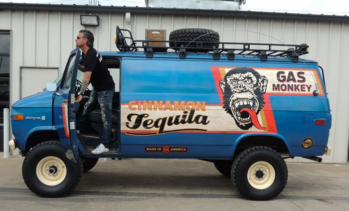 Richard Rawlings leans out of the Gas Monkey Cinnamon Tequila van.